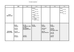 horaires vacances 2ème semaine