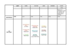 horaires vacances 1ere semaine